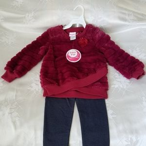 Nanette Girl 2pc Set Faux Fur Top 4T NWT